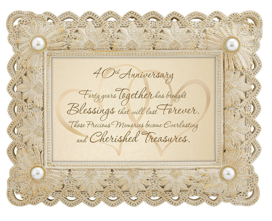 40th anniversary frame with faux pearl accents