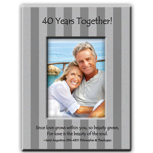 40th wedding anniversary photo frame with modern brushed silver strip design