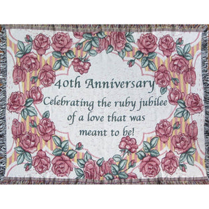 40th anniversary sofa throw blanket with ruby red rose design