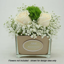Load image into Gallery viewer, 50th anniversary vase with two ivory roses shown for display idea only