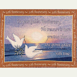 50th anniversary sofa throw blanket with two white doves on a blue background