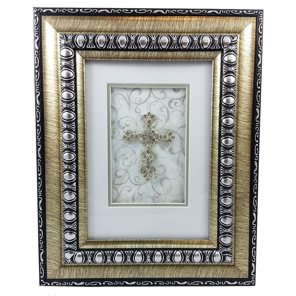 Framed cross with crystals for diamond 60th wedding anniversary