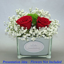 Load image into Gallery viewer, 60th anniversary vase with two red roses shown as a display idea only