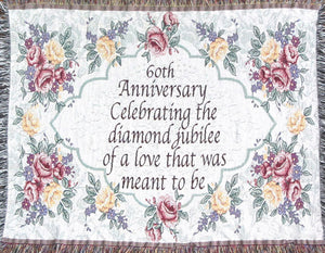 60th anniversary sofa throw blanket with verse in center diamond shape
