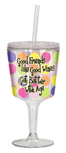 Good Friends wine glass has colorful polka dots and a sippy cup straw for on-the-go wine
