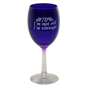 Purple 70th birthday wine glass for women or men