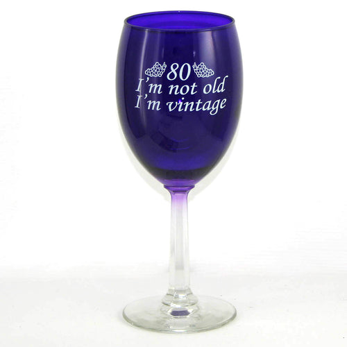 Purple 80th birthday wine glass for women or men