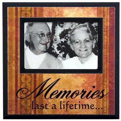The brown and tan wood frame reads memories last a lifetime
