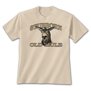 Mule face on an ivory t-shirt