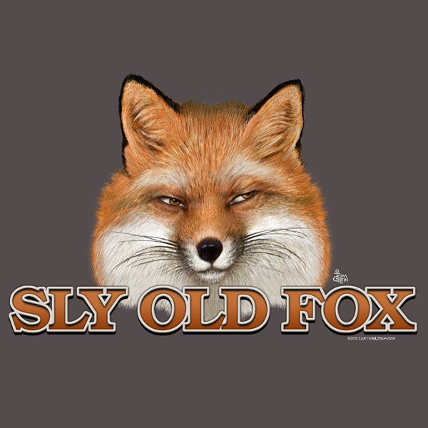 Fox t-shirt reads sly old fox on picture of fox face