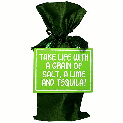 Green velveteen wine bag with green sign with white lettering