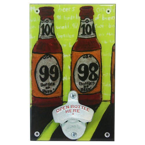 Wall beer bottle opener with pun on 99 bottle of beer song
