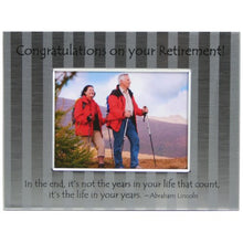 Load image into Gallery viewer, Retirement frame is brushed silver stripe metal