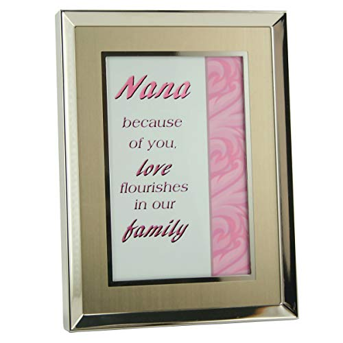 Nana photo frame is brushed silver and gold tone metal