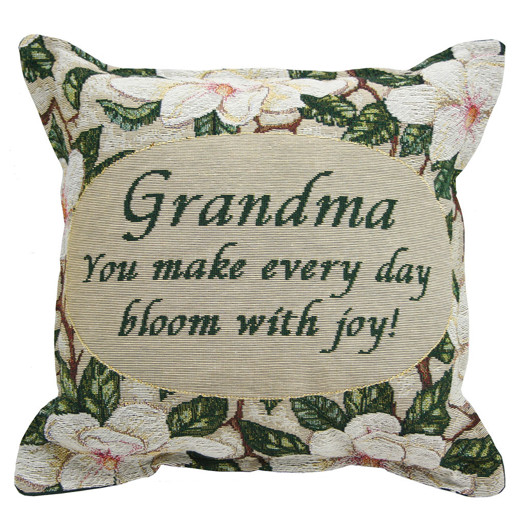 Grandma Pillow has a magnolia floral design surrounding the grandma verse
