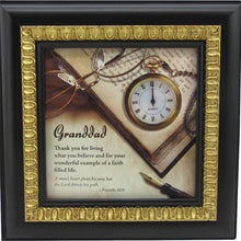 Load image into Gallery viewer, Granddad desk clock with verse framed in espresso finish