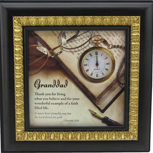 Granddad desk clock with verse framed in espresso finish