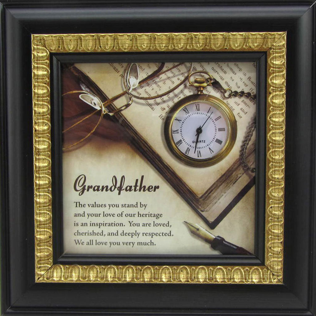Grandfather desk clock with verse framed in espresso finish