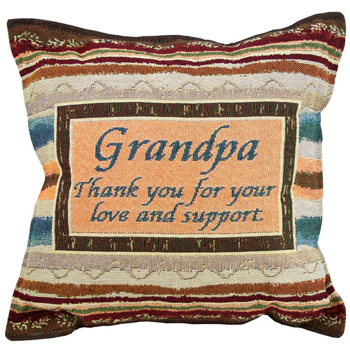 Grandpa pillow with geometric stripes in shades of tan and brown