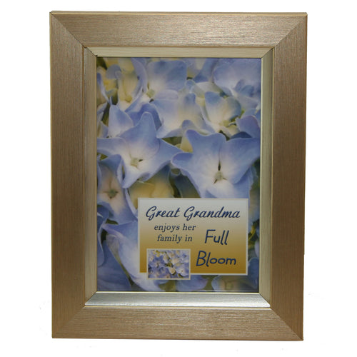 Great grandma gold tone wood frame with hydrangea insert