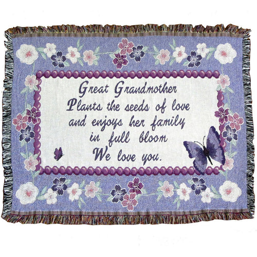 Great grandma sofa throw blanket with floral border on lavender background