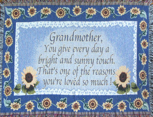 Grandmom sofa throw blanket with a sunflower border on a blue background