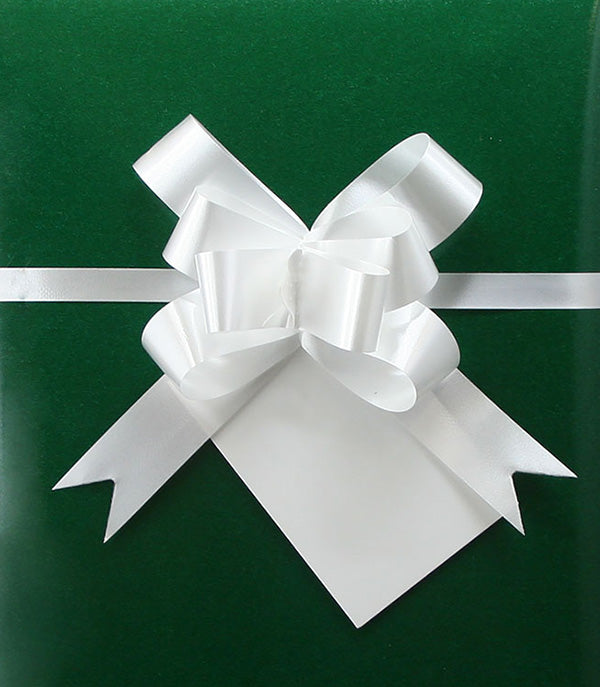 Christmas green gift wrap with a white bow
