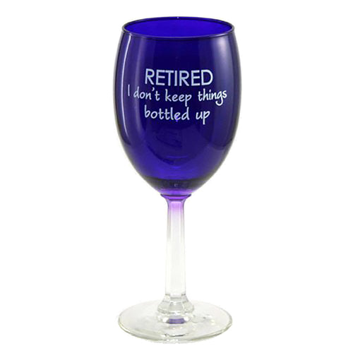 Retired wine glass has a purple bowl with a clear stem