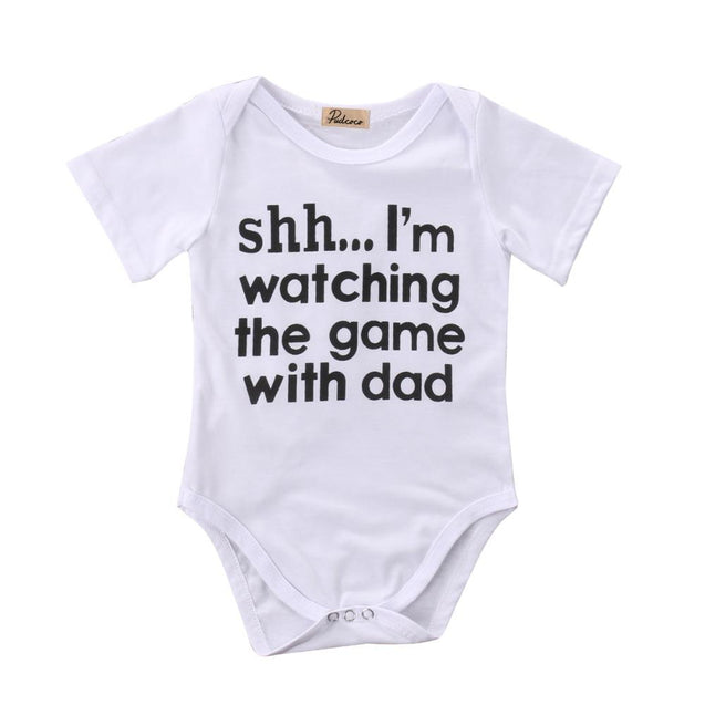 Shh i'm watching the game with dad onesie - Butterflybabiesboutique