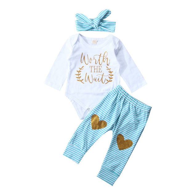 Worth the wait love heart 3 piece set - Butterflybabiesboutique