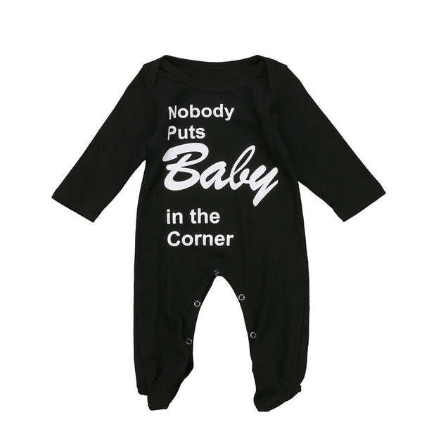 Nobody puts baby in the corner romper - Butterflybabiesboutique