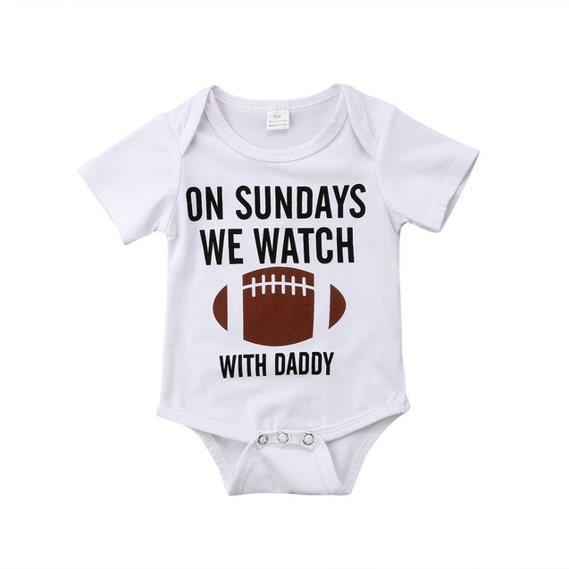 On sundays we watch with daddy onesie - Butterflybabiesboutique