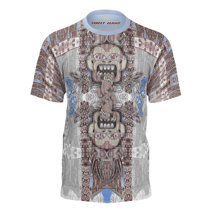 street flight all over print short sleeve t-shirt with miami one-seven 1 graphic-front view