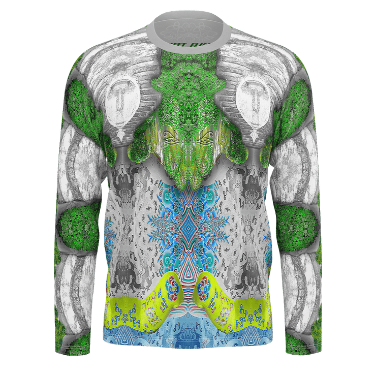 street flight all over print long sleeve t-shirt with trophy life 1 graphic-front view