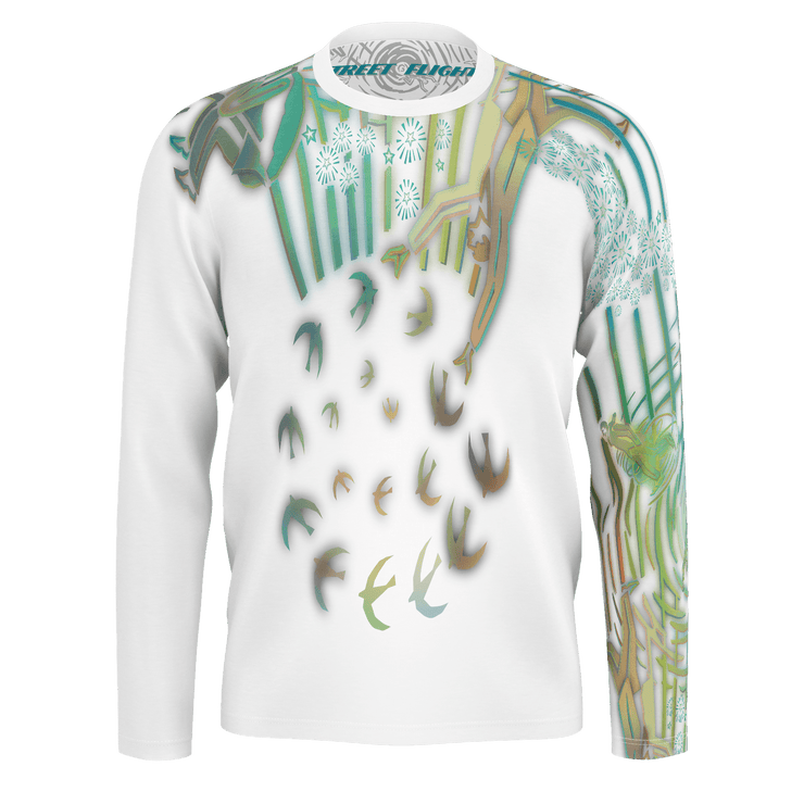 street flight all over print long sleeve t-shirt with brilliant things II graphic-front view