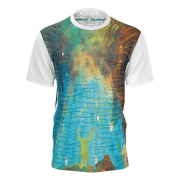 street flight all over print short sleeve t-shirt with brilliant things II graphic-front view