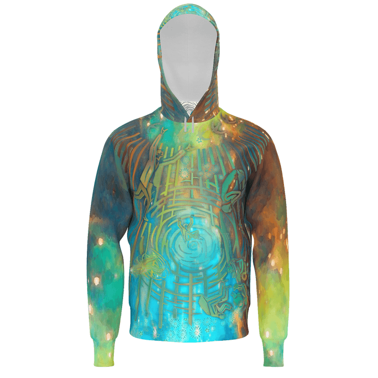street flight all over print hoodie with brilliant things II graphic-front view