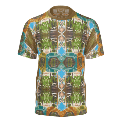 street flight all over print short sleeve t-shirt with miami one-seven 2 graphic-front view