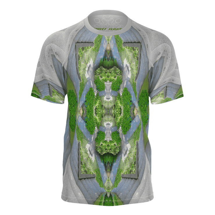 street flight all over print short sleeve t-shirt with trophy life 2 graphic-front view
