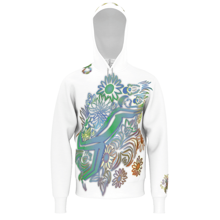 street flight all over print hoodie with brilliant things I graphic-front view