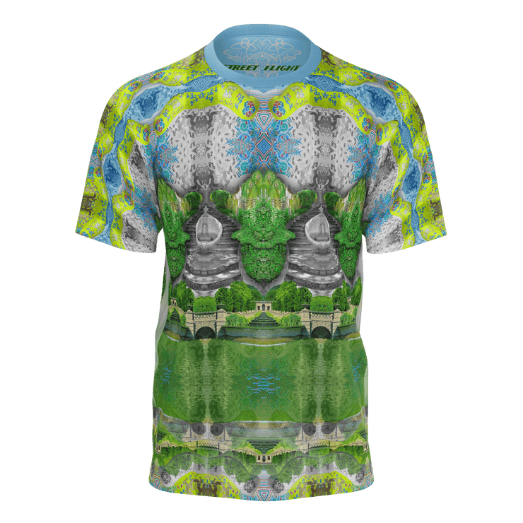 street flight all over print short sleeve t-shirt with trophy life 1 graphic-front view
