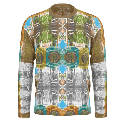 street flight all over print long sleeve t-shirt with miami one-seven 2 graphic-front view