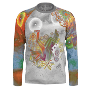 street flight all over print long sleeve t-shirt with brilliant things I graphic-front view