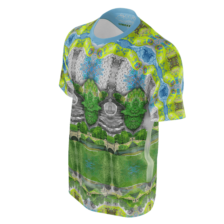 street flight all over print short sleeve t-shirt with trophy life 1 graphic-3/4 front view