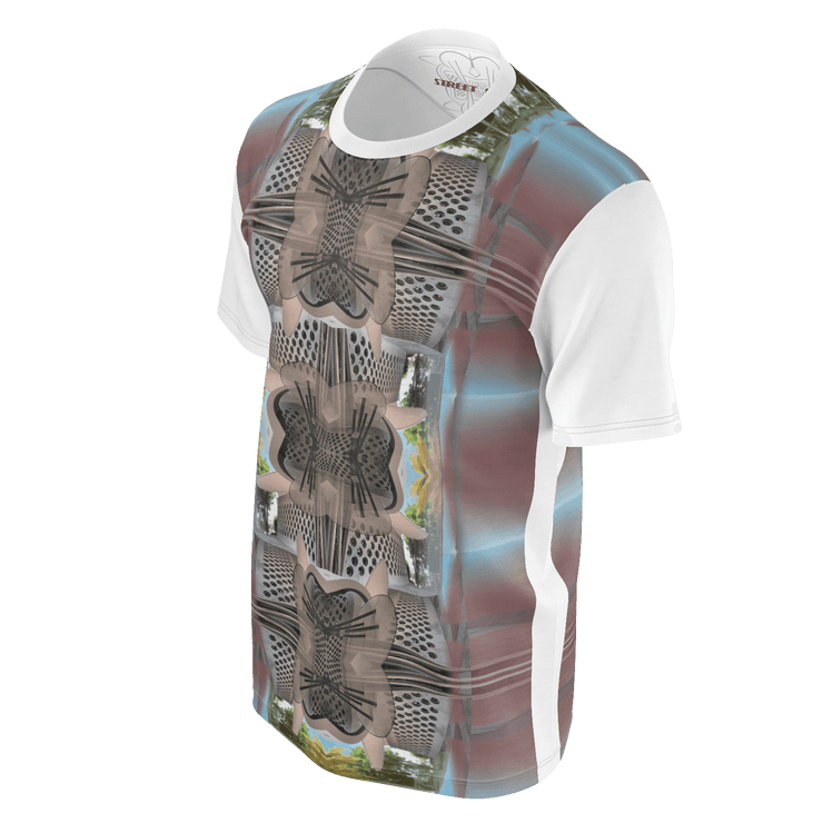 street flight all over print long sleeve t-shirt with miami one-seven 3 graphic-3/4 front view