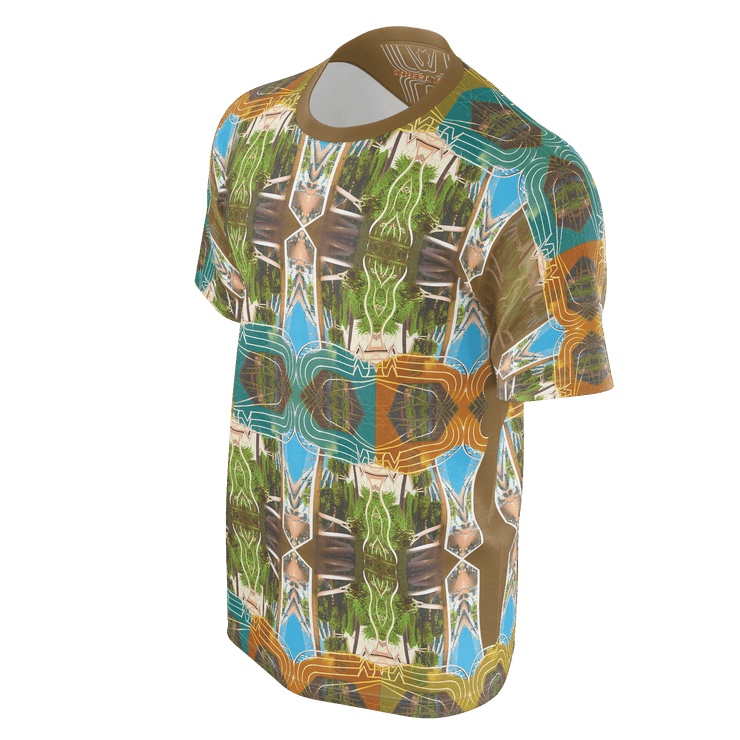 street flight all over print short sleeve t-shirt with miami one-seven 2 graphic-3/4 front view