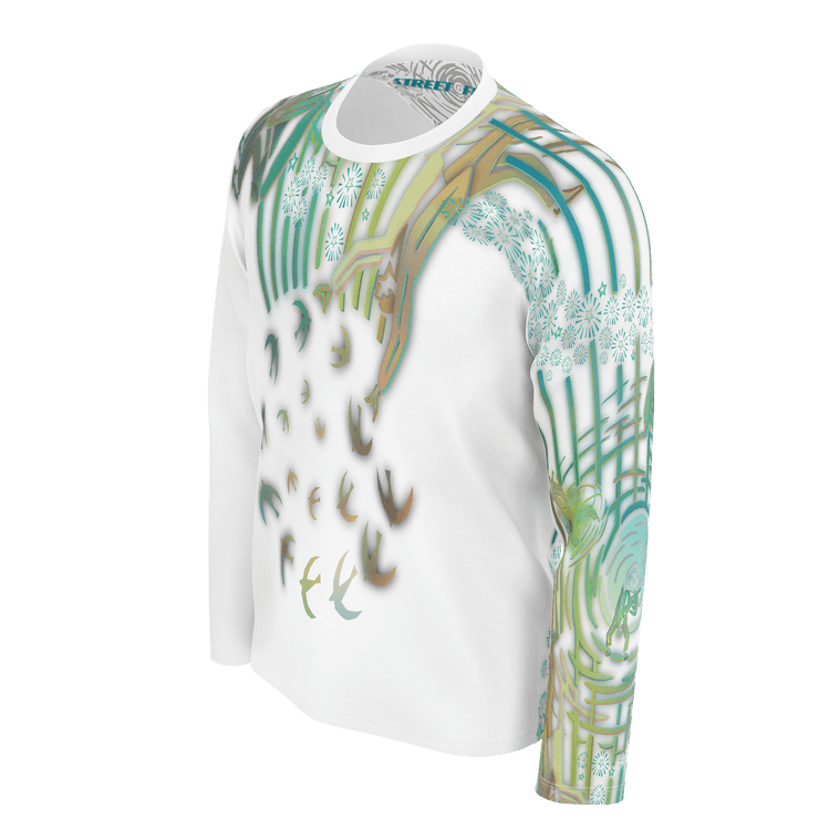 street flight all over print long sleeve t-shirt with brilliant things II graphic-3/4 front view