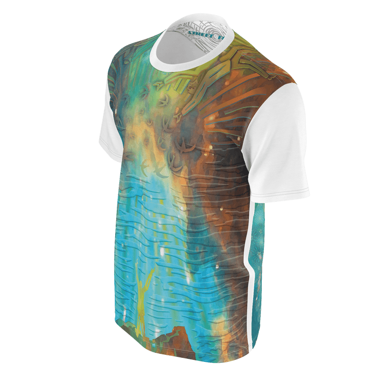 street flight all over print short sleeve t-shirt with brilliant things II graphic-3/4 front view