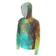 street flight all over print hoodie with brilliant things II graphic-3/4 front view