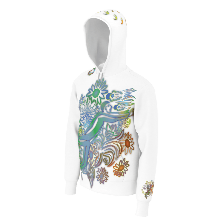 street flight all over print hoodie with brilliant things I graphic-3/4 front view